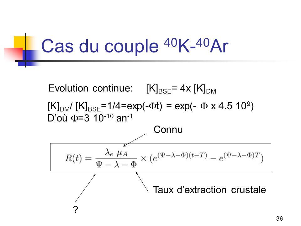 36 Cas du couple 40 K- 40 Ar [K] BSE = 4x [K] DM [K] DM / [K] BSE =1/4=exp(-  t) = exp(-  x 4.5 10 9 ) D'où  =3 10 -10 an -1 Evolution continue: Connu Taux d'extraction crustale ?