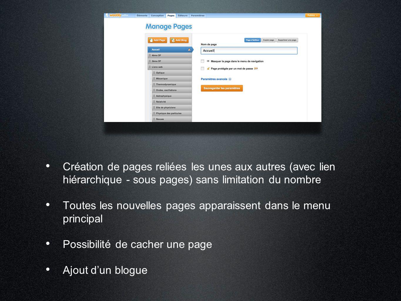 Création de pages reliées les unes aux autres (avec lien hiérarchique - sous pages) sans limitation du nombre Toutes les nouvelles pages apparaissent