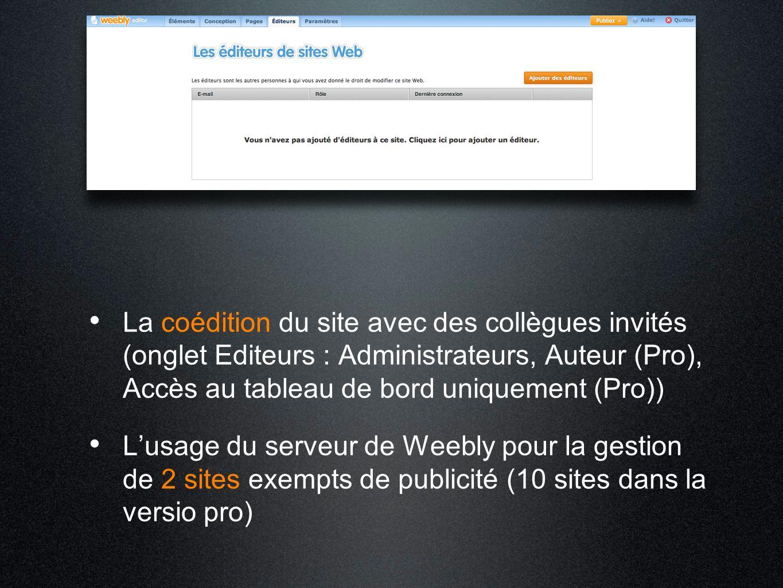 La coédition du site avec des collègues invités (onglet Editeurs : Administrateurs, Auteur (Pro), Accès au tableau de bord uniquement (Pro)) L'usage d