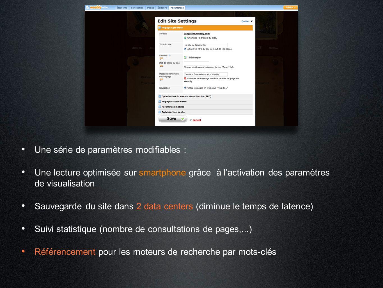 Une série de paramètres modifiables : Une lecture optimisée sur smartphone grâce à l'activation des paramètres de visualisation Sauvegarde du site dan