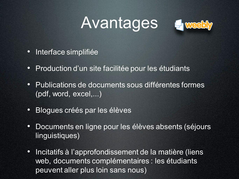 Avantages Interface simplifiée Production d'un site facilitée pour les étudiants Publications de documents sous différentes formes (pdf, word, excel,.