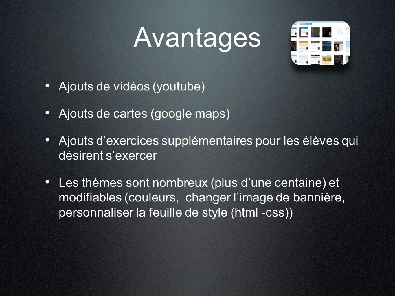 Avantages Ajouts de vidéos (youtube) Ajouts de cartes (google maps) Ajouts d'exercices supplémentaires pour les élèves qui désirent s'exercer Les thèm