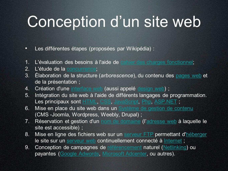 Conception d'un site web Les différentes étapes (proposées par Wikipédia) : 1. L'évaluation des besoins à l'aide de cahier des charges fonctionnel;cah