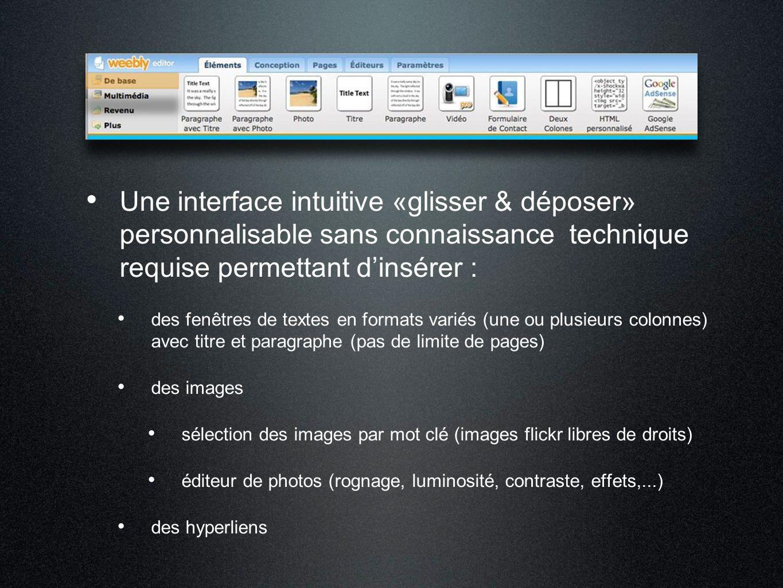 Une interface intuitive «glisser & déposer» personnalisable sans connaissance technique requise permettant d'insérer : des fenêtres de textes en forma