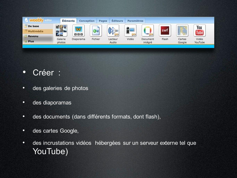 Créer : des galeries de photos des diaporamas des documents (dans différents formats, dont flash), des cartes Google, des incrustations vidéos hébergé