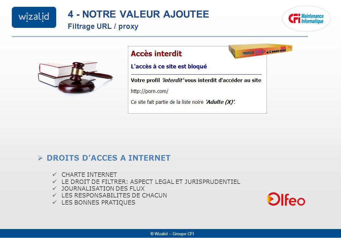 © Wizalid – Groupe CFI  DROITS D'ACCES A INTERNET CHARTE INTERNET LE DROIT DE FILTRER: ASPECT LEGAL ET JURISPRUDENTIEL JOURNALISATION DES FLUX LES RESPONSABILITES DE CHACUN LES BONNES PRATIQUES Filtrage URL / proxy 4 - NOTRE VALEUR AJOUTEE