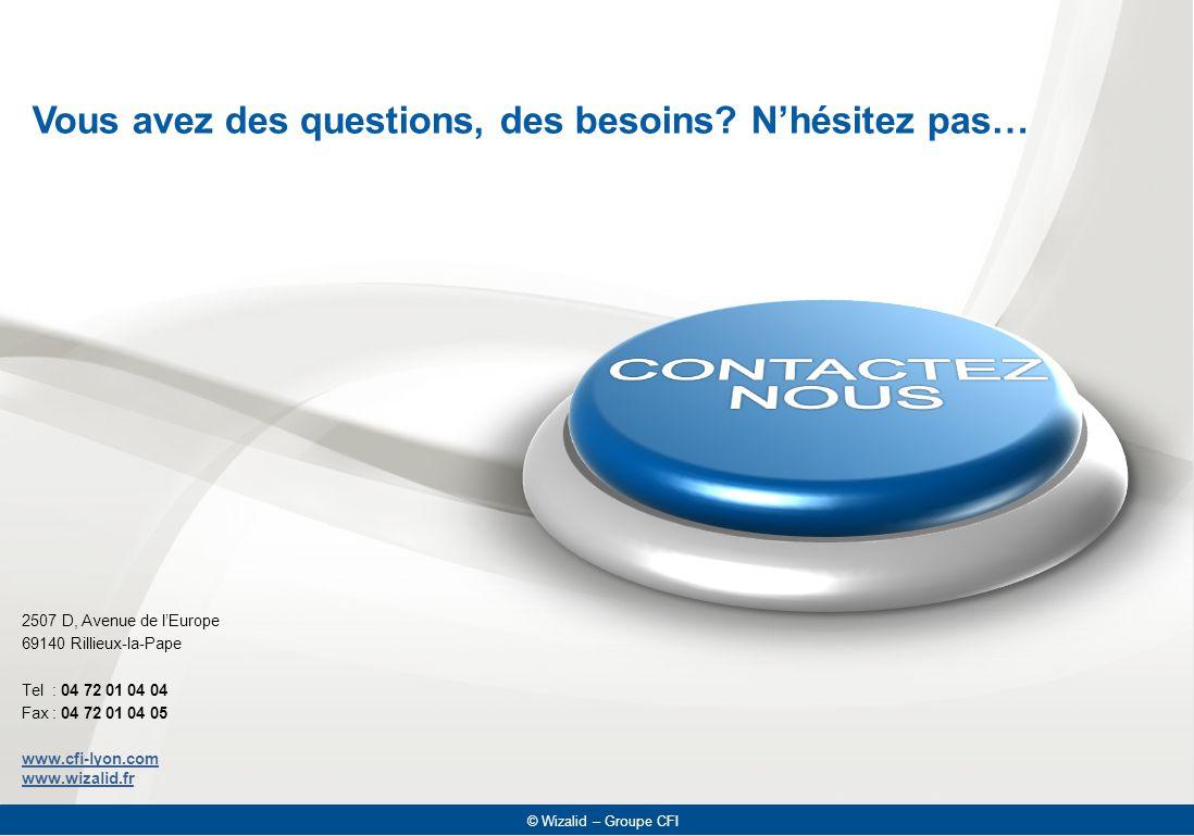 © Wizalid – Groupe CFI 2507 D, Avenue de l'Europe 69140 Rillieux-la-Pape Tel : 04 72 01 04 04 Fax : 04 72 01 04 05 www.cfi-lyon.com www.wizalid.fr © W