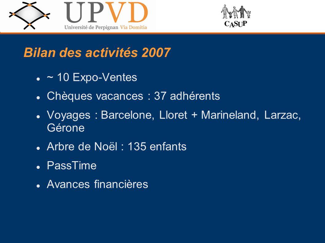 ~ 10 Expo-Ventes Chèques vacances : 37 adhérents Voyages : Barcelone, Lloret + Marineland, Larzac, Gérone Arbre de Noël : 135 enfants PassTime Avances financières Bilan des activités 2007