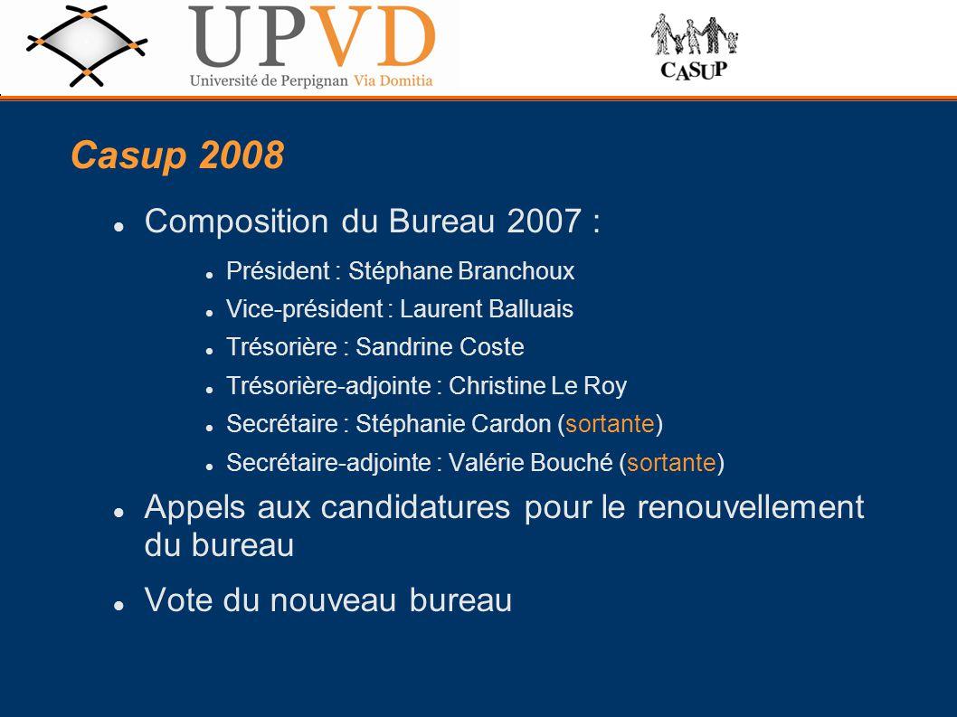 Composition du Bureau 2007 : Président : Stéphane Branchoux Vice-président : Laurent Balluais Trésorière : Sandrine Coste Trésorière-adjointe : Christ