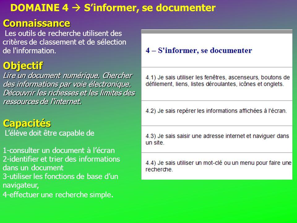 DOMAINE 4  S'informer, se documenter Connaissance Connaissance Les outils de recherche utilisent des critères de classement et de sélection de l information.Objectif Lire un document numérique.