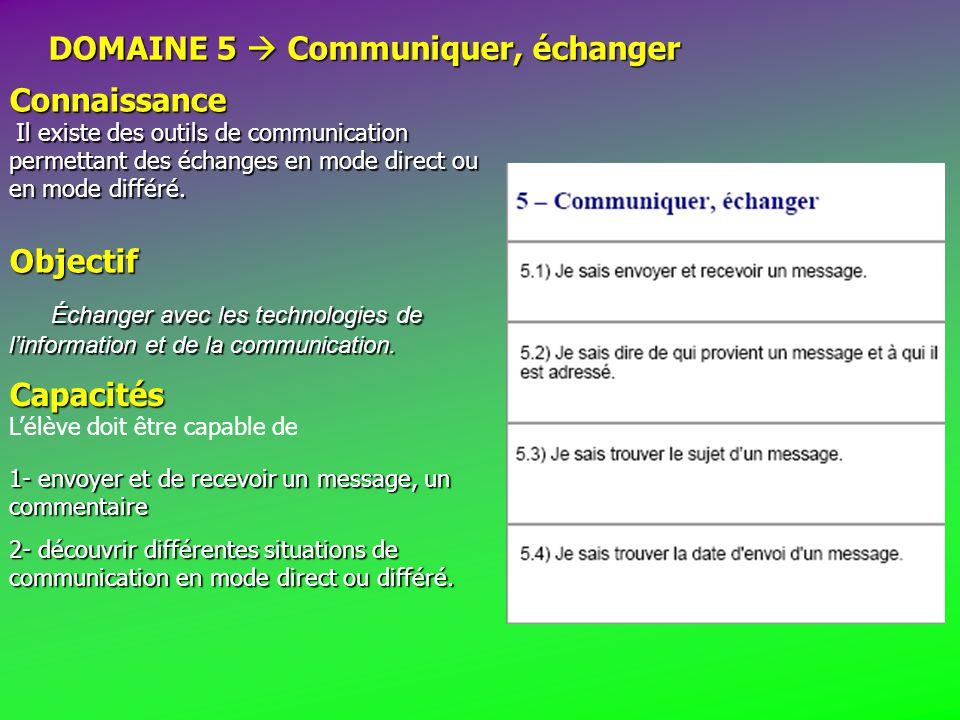 DOMAINE 5  Communiquer, échanger Connaissance Il existe des outils de communication permettant des échanges en mode direct ou en mode différé.