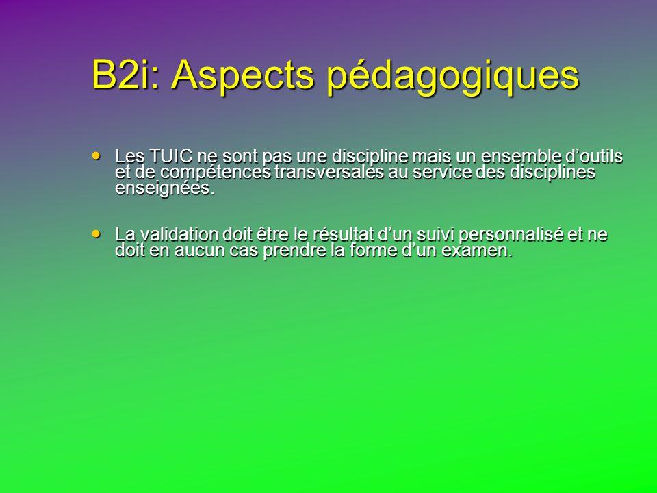 B2i: Aspects pédagogiques Les TUIC ne sont pas une discipline mais un ensemble d'outils et de compétences transversales au service des disciplines enseignées.