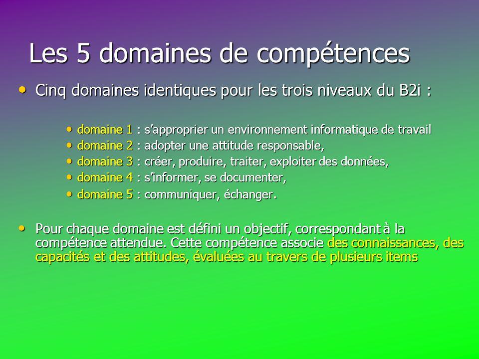 Les 5 domaines de compétences Cinq domaines identiques pour les trois niveaux du B2i : Cinq domaines identiques pour les trois niveaux du B2i : domaine 1 : s'approprier un environnement informatique de travail domaine 1 : s'approprier un environnement informatique de travail domaine 2 : adopter une attitude responsable, domaine 2 : adopter une attitude responsable, domaine 3 : créer, produire, traiter, exploiter des données, domaine 3 : créer, produire, traiter, exploiter des données, domaine 4 : s'informer, se documenter, domaine 4 : s'informer, se documenter, domaine 5 : communiquer, échanger.