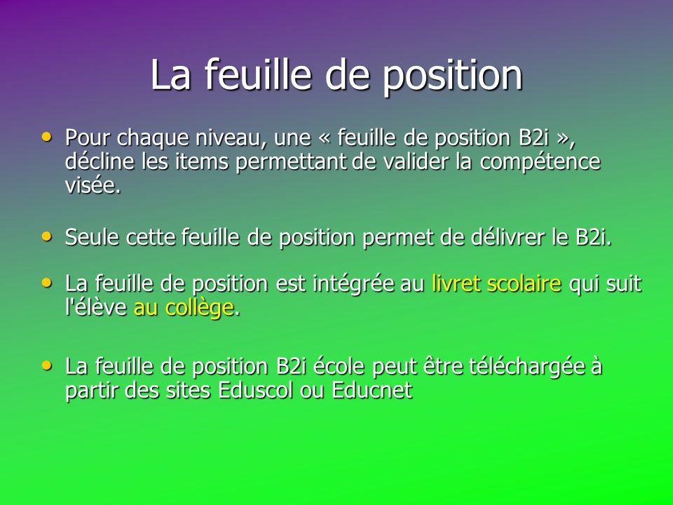 La feuille de position Pour chaque niveau, une « feuille de position B2i », décline les items permettant de valider la compétence visée.