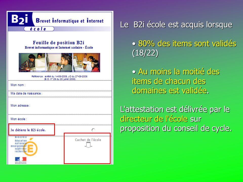 Le B2i école est acquis lorsque 80% des items sont validés (18/22) 80% des items sont validés (18/22) Au moins la moitié des items de chacun des domaines est validée.