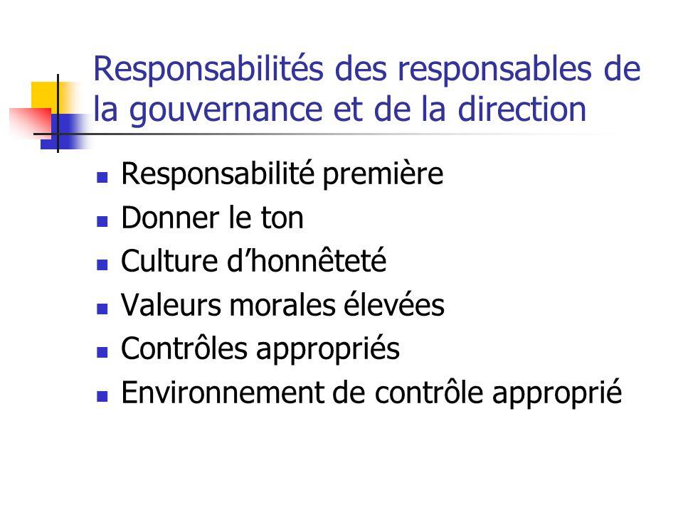 Responsabilités des responsables de la gouvernance et de la direction Responsabilité première Donner le ton Culture d'honnêteté Valeurs morales élevées Contrôles appropriés Environnement de contrôle approprié