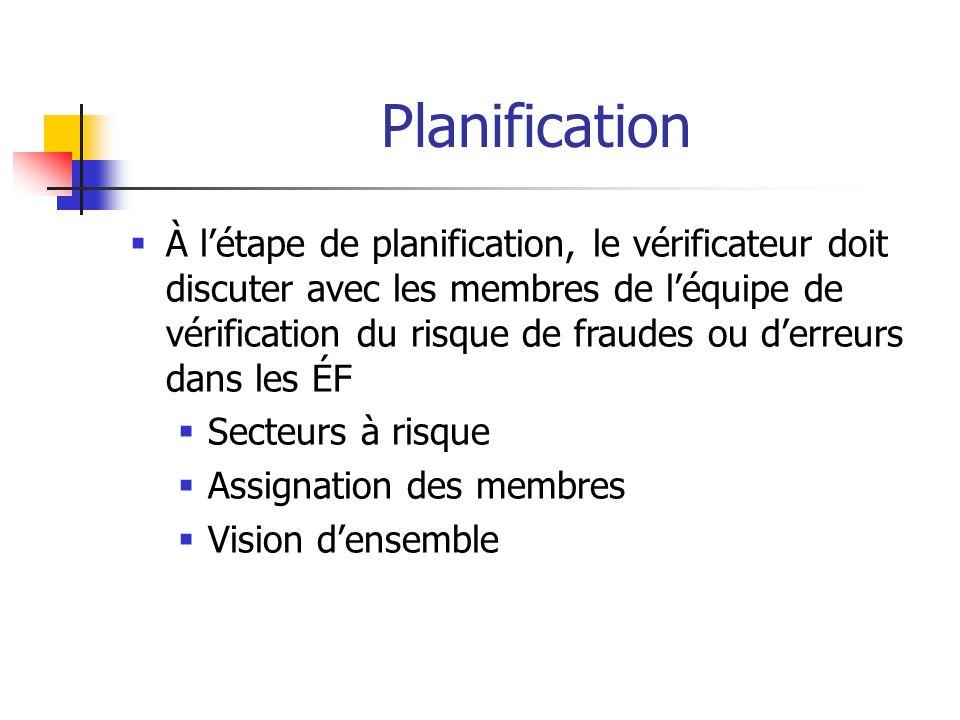 Planification  À l'étape de planification, le vérificateur doit discuter avec les membres de l'équipe de vérification du risque de fraudes ou d'erreurs dans les ÉF  Secteurs à risque  Assignation des membres  Vision d'ensemble