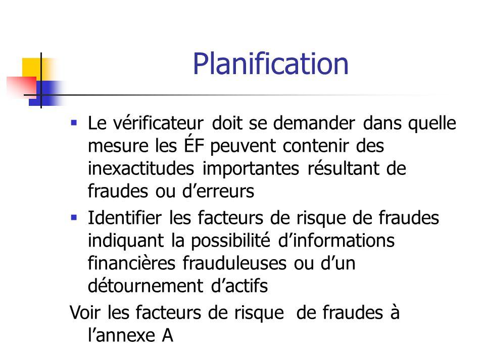 Planification  Le vérificateur doit se demander dans quelle mesure les ÉF peuvent contenir des inexactitudes importantes résultant de fraudes ou d'erreurs  Identifier les facteurs de risque de fraudes indiquant la possibilité d'informations financières frauduleuses ou d'un détournement d'actifs Voir les facteurs de risque de fraudes à l'annexe A