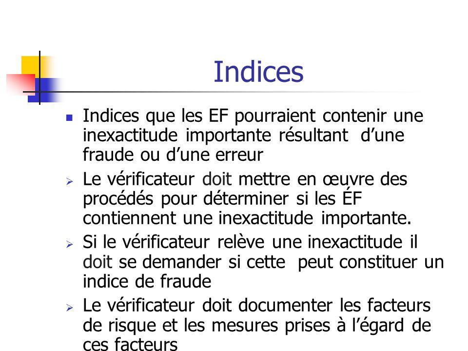 Indices Indices que les EF pourraient contenir une inexactitude importante résultant d'une fraude ou d'une erreur  Le vérificateur doit mettre en œuvre des procédés pour déterminer si les ÉF contiennent une inexactitude importante.