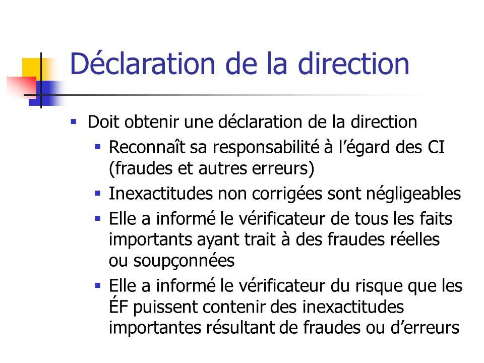 Déclaration de la direction  Doit obtenir une déclaration de la direction  Reconnaît sa responsabilité à l'égard des CI (fraudes et autres erreurs)  Inexactitudes non corrigées sont négligeables  Elle a informé le vérificateur de tous les faits importants ayant trait à des fraudes réelles ou soupçonnées  Elle a informé le vérificateur du risque que les ÉF puissent contenir des inexactitudes importantes résultant de fraudes ou d'erreurs