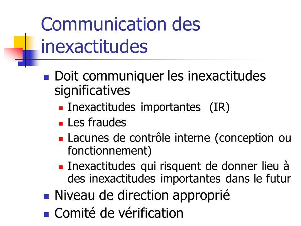 Communication des inexactitudes Doit communiquer les inexactitudes significatives Inexactitudes importantes (IR) Les fraudes Lacunes de contrôle interne (conception ou fonctionnement) Inexactitudes qui risquent de donner lieu à des inexactitudes importantes dans le futur Niveau de direction approprié Comité de vérification