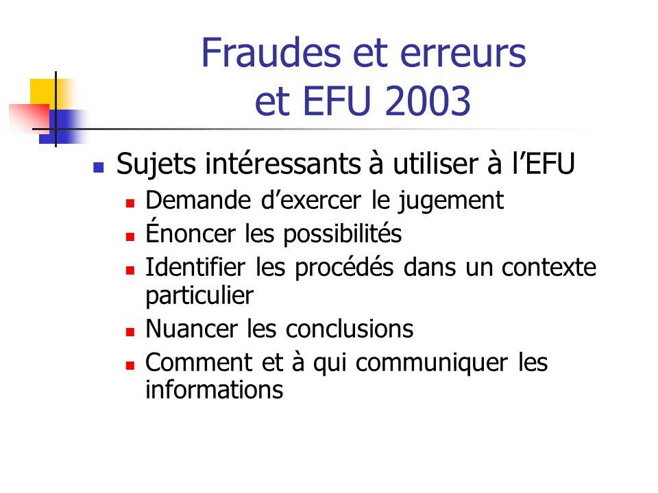 Fraudes et erreurs et EFU 2003 Sujets intéressants à utiliser à l'EFU Demande d'exercer le jugement Énoncer les possibilités Identifier les procédés dans un contexte particulier Nuancer les conclusions Comment et à qui communiquer les informations
