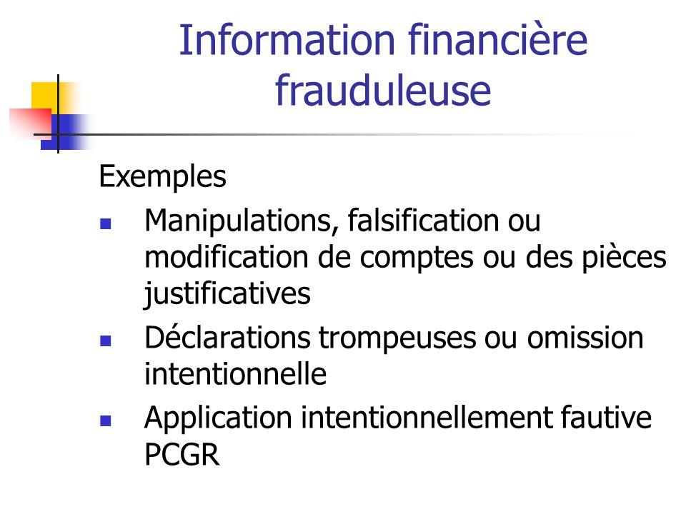 Information financière frauduleuse Exemples Manipulations, falsification ou modification de comptes ou des pièces justificatives Déclarations trompeuses ou omission intentionnelle Application intentionnellement fautive PCGR