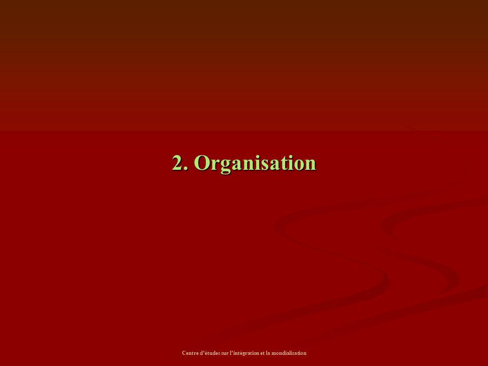 Centre d'études sur l'intégration et la mondialisation 2. Organisation