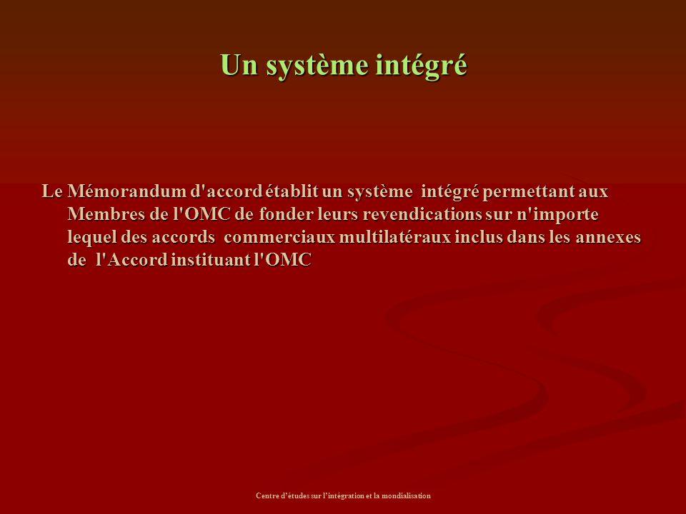 Centre d'études sur l'intégration et la mondialisation Un système intégré Le Mémorandum d'accord établit un système intégré permettant aux Membres de