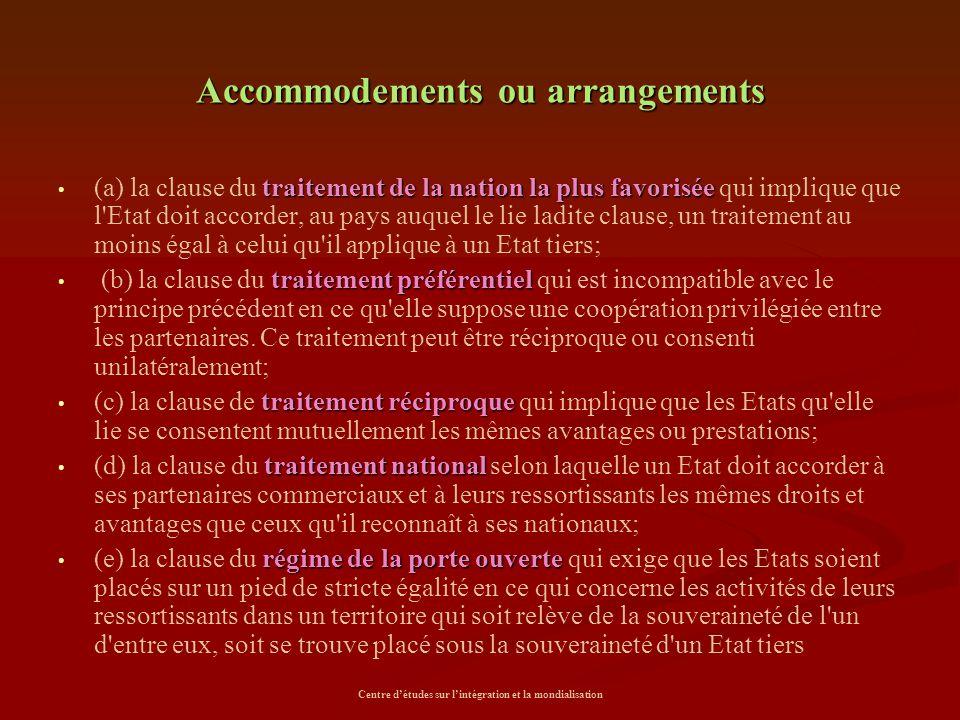 Centre d'études sur l'intégration et la mondialisation Accommodements ou arrangements traitement de la nation la plus favorisée (a) la clause du trait