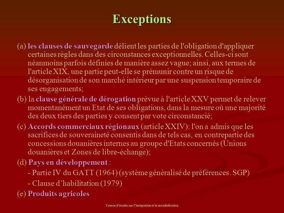 Centre d'études sur l'intégration et la mondialisation Exceptions les clauses de sauvegarde (a) les clauses de sauvegarde délient les parties de l'obl