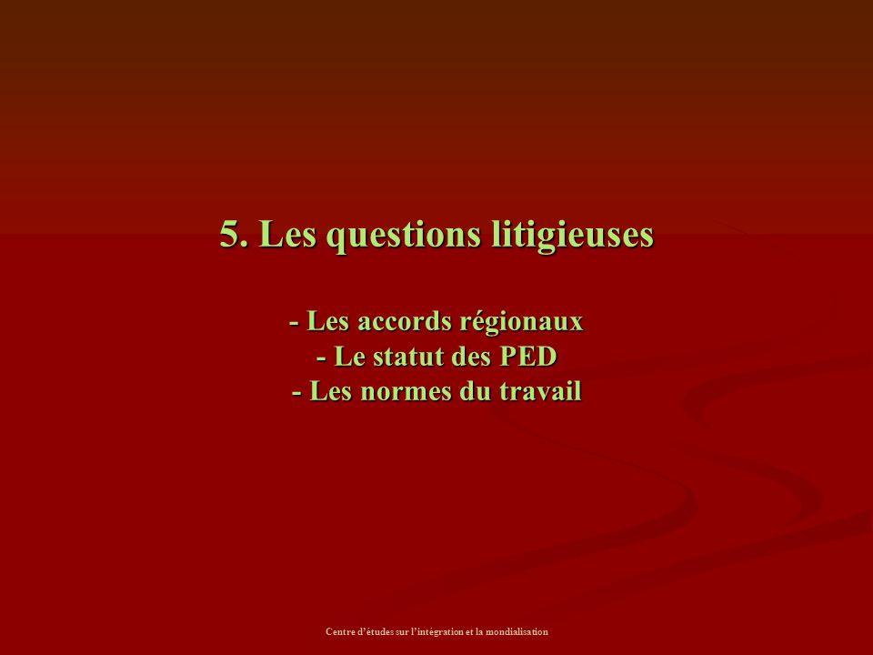Centre d'études sur l'intégration et la mondialisation 5. Les questions litigieuses - Les accords régionaux - Le statut des PED - Les normes du travai