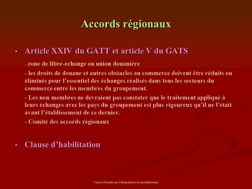 Centre d'études sur l'intégration et la mondialisation Accords régionaux Article XXIV du GATT et article V du GATS Article XXIV du GATT et article V d