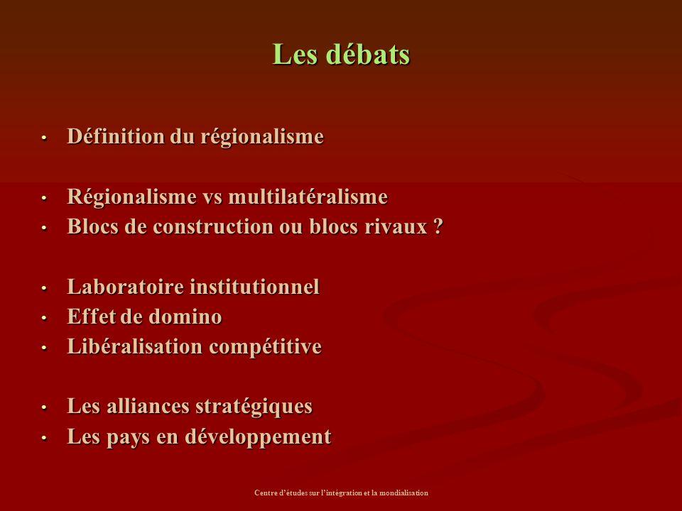 Centre d'études sur l'intégration et la mondialisation Les débats Définition du régionalisme Définition du régionalisme Régionalisme vs multilatéralis