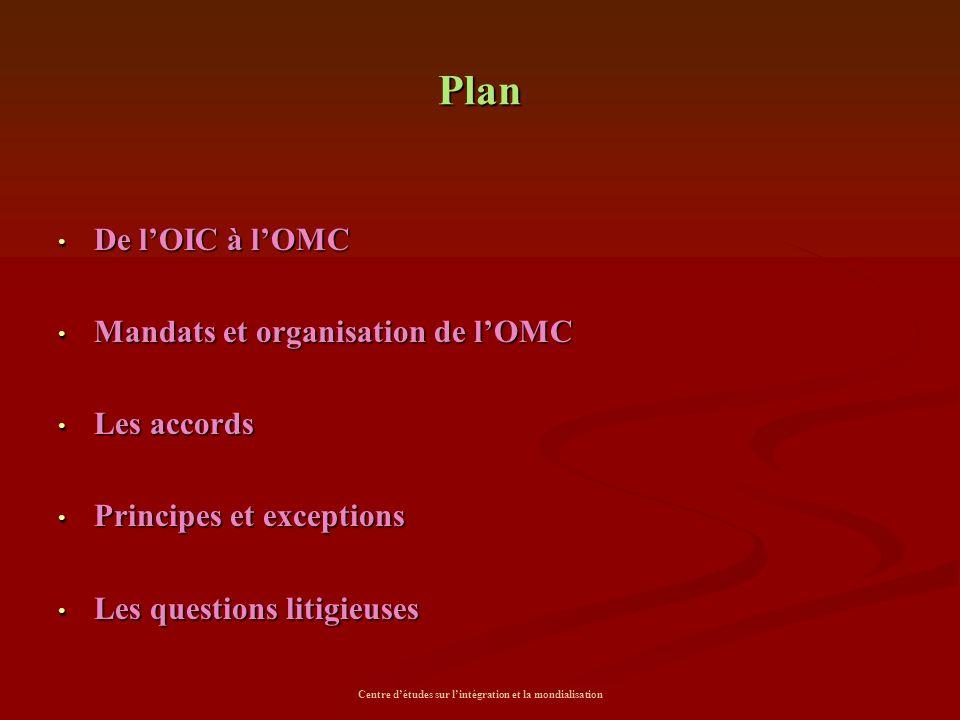 Centre d'études sur l'intégration et la mondialisation Plan De l'OIC à l'OMC De l'OIC à l'OMC Mandats et organisation de l'OMC Mandats et organisation