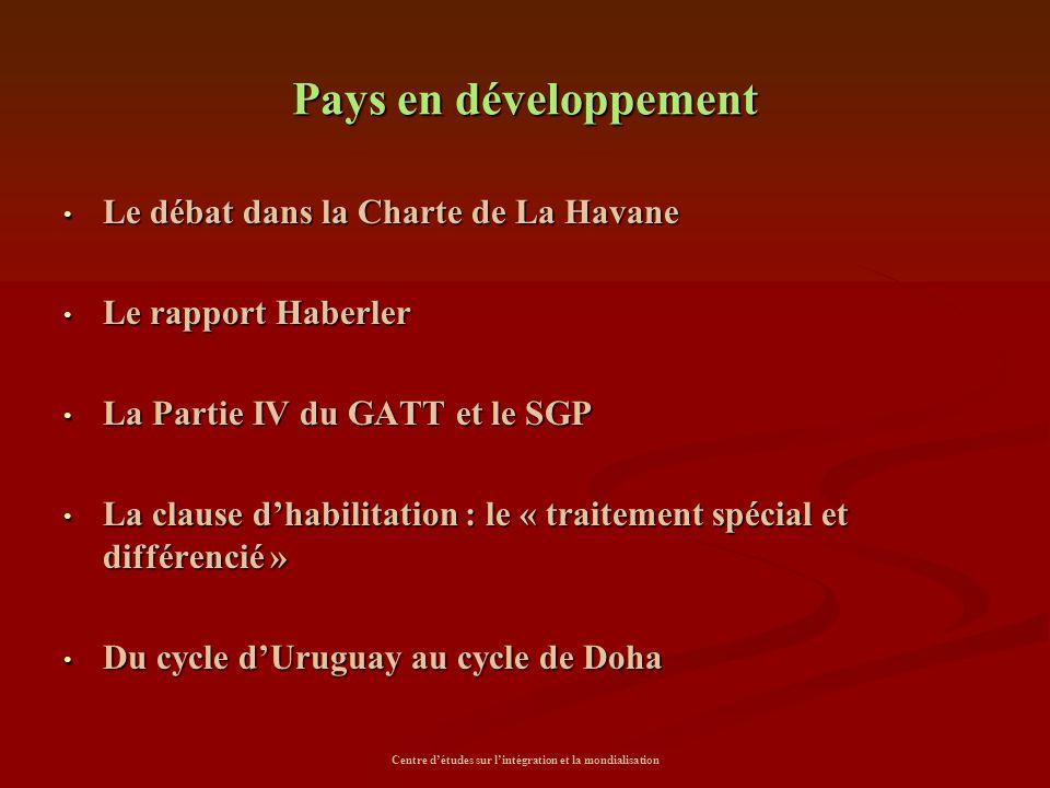 Centre d'études sur l'intégration et la mondialisation Pays en développement Le débat dans la Charte de La Havane Le débat dans la Charte de La Havane