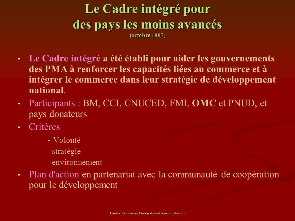 Centre d'études sur l'intégration et la mondialisation Le Cadre intégré pour des pays les moins avancés (octobre 1997) Le Cadre intégré a été établi p