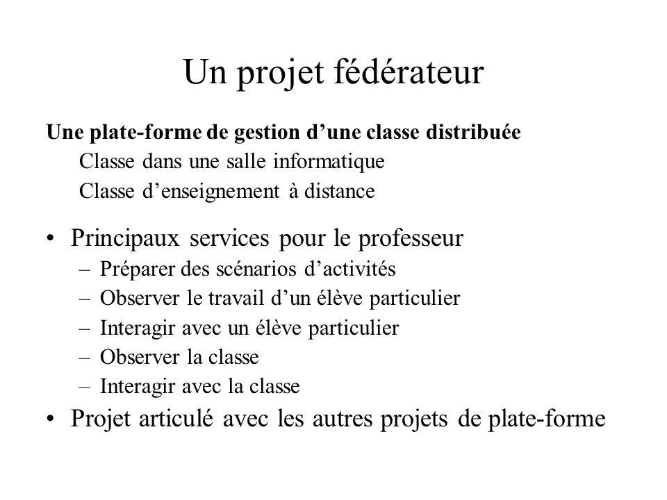 Un projet fédérateur Une plate-forme de gestion d'une classe distribuée Classe dans une salle informatique Classe d'enseignement à distance Principaux