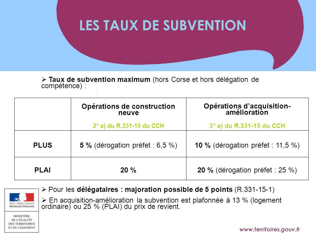 www.territoires.gouv.fr Ministère de l'Égalité des Territoires et du Logement  Taux de subvention maximum (hors Corse et hors délégation de compétenc