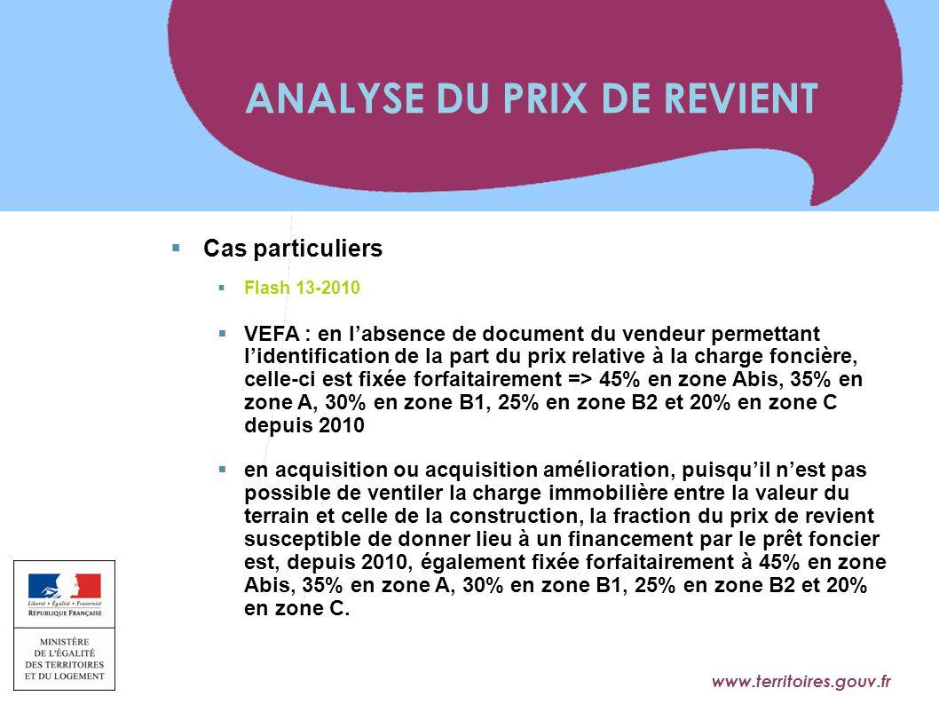 www.territoires.gouv.fr Ministère de l'Égalité des Territoires et du Logement  Cas particuliers  Flash 13-2010  VEFA : en l'absence de document du