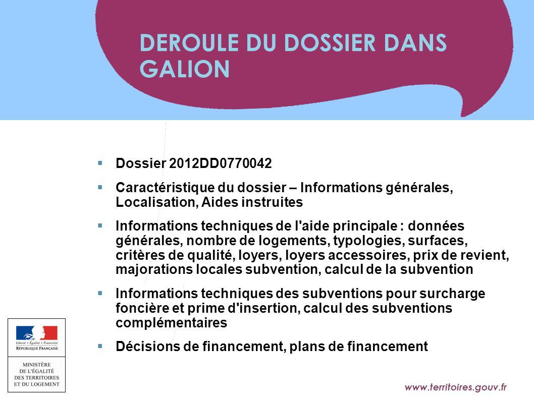 www.territoires.gouv.fr Ministère de l'Égalité des Territoires et du Logement  Dossier 2012DD0770042  Caractéristique du dossier – Informations géné