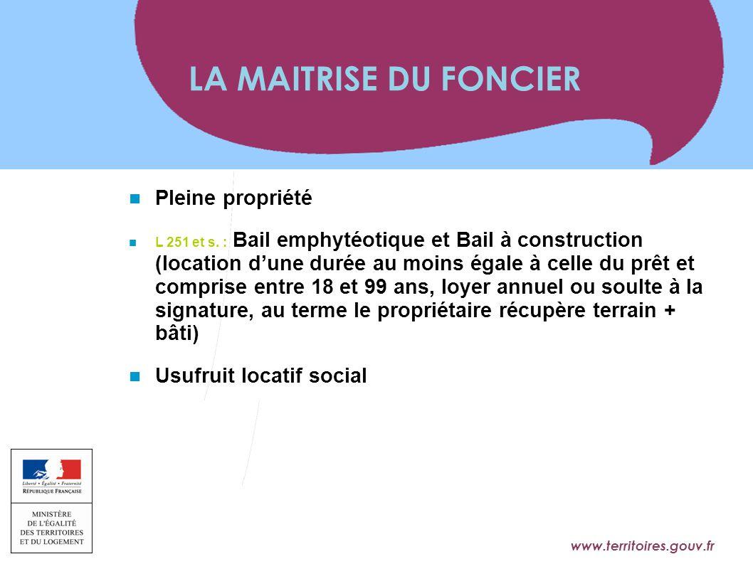 www.territoires.gouv.fr Ministère de l'Égalité des Territoires et du Logement Pleine propriété L 251 et s. : Bail emphytéotique et Bail à construction