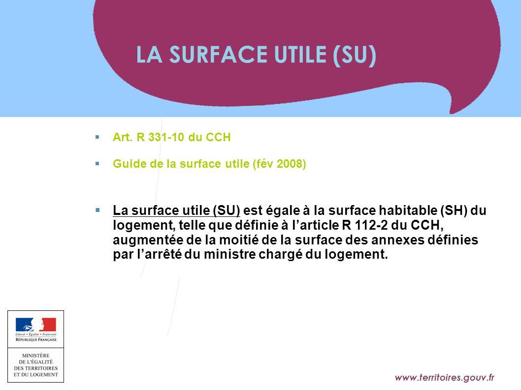www.territoires.gouv.fr Ministère de l'Égalité des Territoires et du Logement  Art. R 331-10 du CCH  Guide de la surface utile (fév 2008)  La surfa