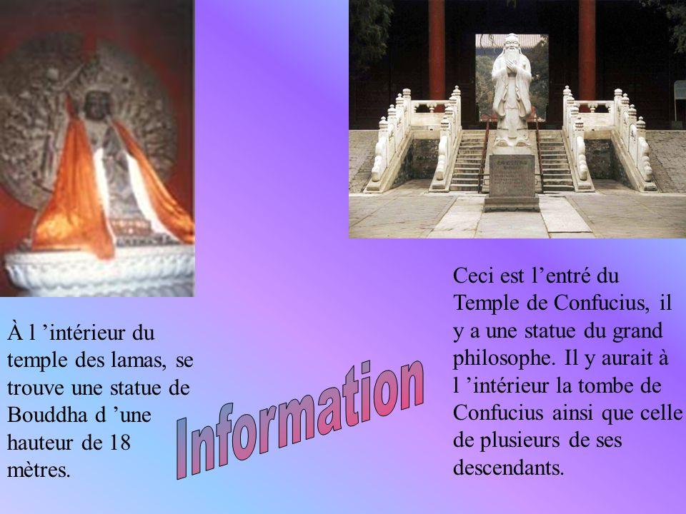 À l 'intérieur du temple des lamas, se trouve une statue de Bouddha d 'une hauteur de 18 mètres.
