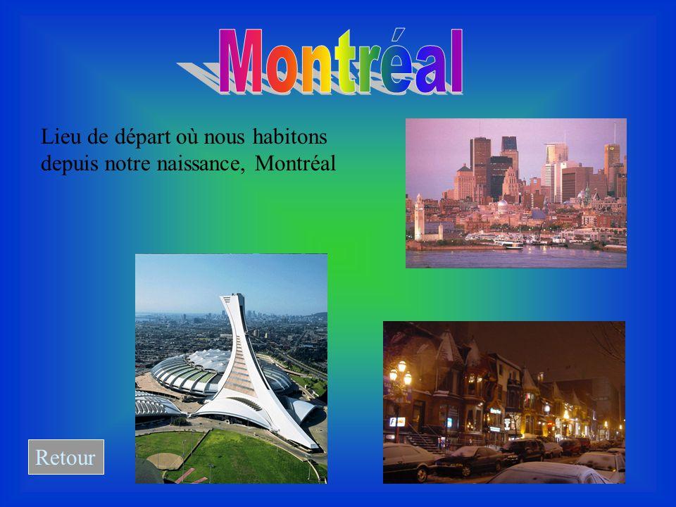 Lieu de départ où nous habitons depuis notre naissance, Montréal Retour