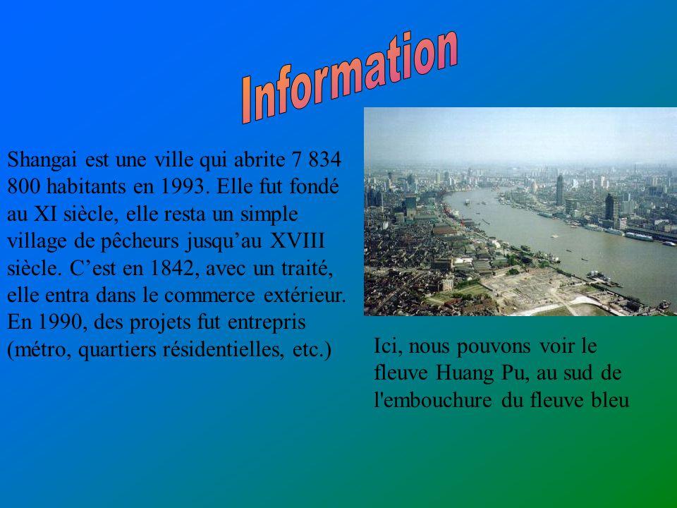 Shangai est une ville qui abrite 7 834 800 habitants en 1993.