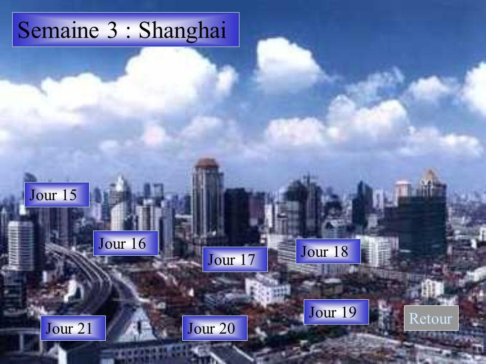 Semaine 3 : Shanghai Jour 15 Jour 16 Jour 17 Jour 18 Jour 19 Jour 20Jour 21