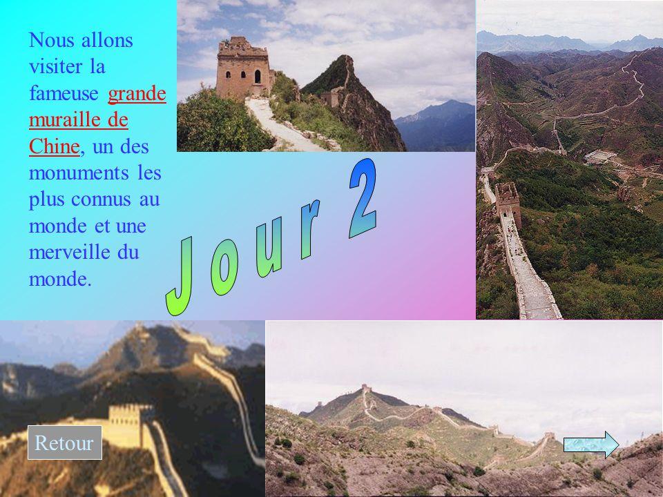 Nous allons visiter la fameuse grande muraille de Chine, un des monuments les plus connus au monde et une merveille du monde.grande muraille de Chine Retour