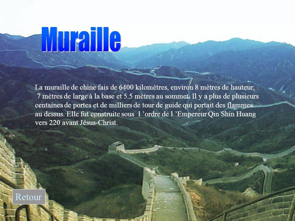 La muraille de chine fais de 6400 kilomètres, environ 8 mètres de hauteur, 7 mètres de large à la base et 5.5 mètres au sommet.