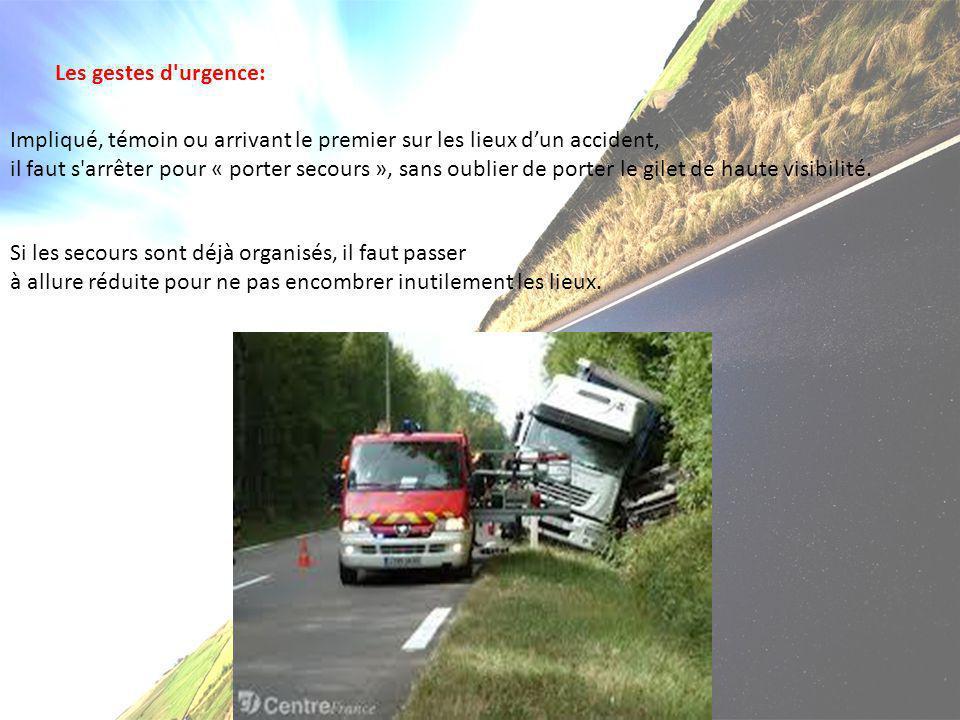 Les gestes d'urgence: Impliqué, témoin ou arrivant le premier sur les lieux d'un accident, il faut s'arrêter pour « porter secours », sans oublier de
